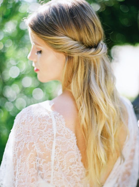 a casual twisted half updo is a timeless solution for any romantic bride, it fits any season and is great for boho or modern brides