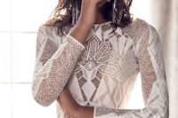 13 a fitting geometric wedding dress with long sleeves and a high neckline for a modern boho bride