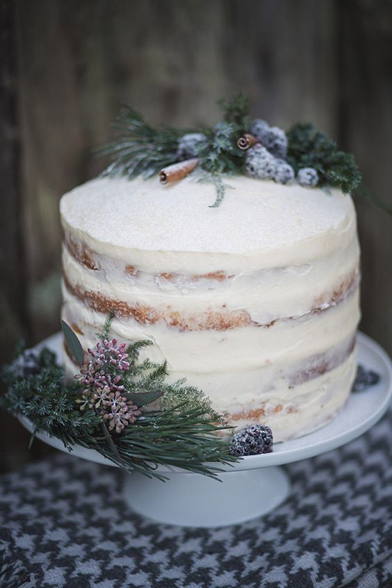 a semi naked wedding cake decorated with sugared berries, evergreens and cinnamon bark for a natural feel