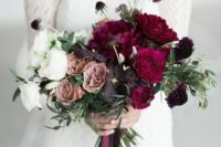13 a super bold ombre wedding bouquet with white, dusty pink, deep purple and crimson blooms for a winter bride