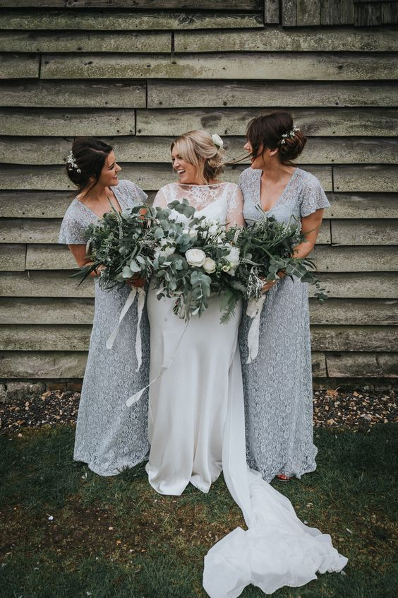 romantic grey lace fitting bridesmaid dresses with short sleeves and V neckline for a frozen like wedding