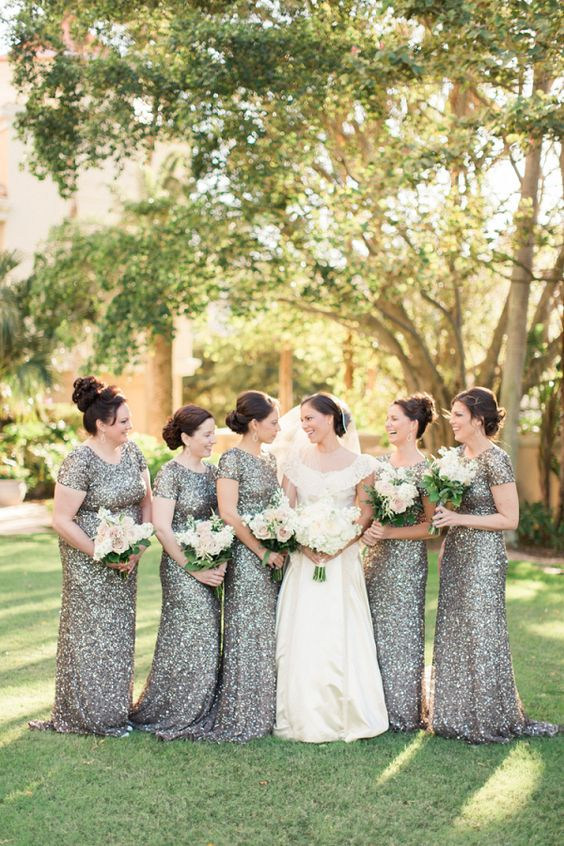 silver sequin fitting bridesmaid dresses are a chic and sophisticated touch, and they never go out of style