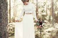 14 a boho bridal separate with a plain skirt and a lace crop top with long sleeves plus a high neckline
