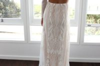 14 a geometric lace fitting wedding gown with long sleeves, a cutout back and a train for a modern boho bride