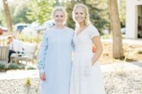15 a boho lace A-line wedding dress with pockets, short sleeves and a V-neckline for a folksy or boho bridal look