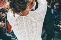 15 a geometric lace wedding dress with long sleeves and a high neckline is a great fit for a modest bride