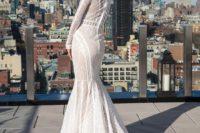 trendy geometric mermaid wedding gown
