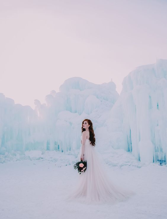 why not go to an ice castle for your wedding pictures, you'll look like an ice queen