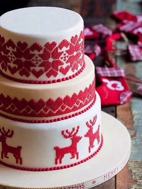 a Scandinavian red and white winter wedding cake imitating patterns on traditional sweaters is super cute
