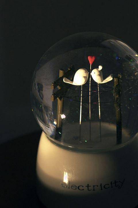 a cute electric love bird snow globe is an idea favor for a winter or Christmas wedding
