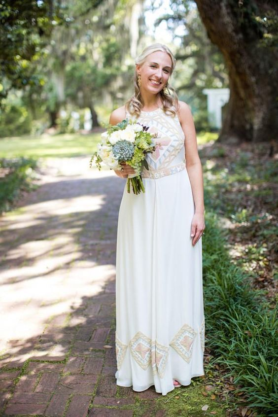 a retro-inspired geometric pattern halter neckline wedding dress, patterns are done in pastel shades
