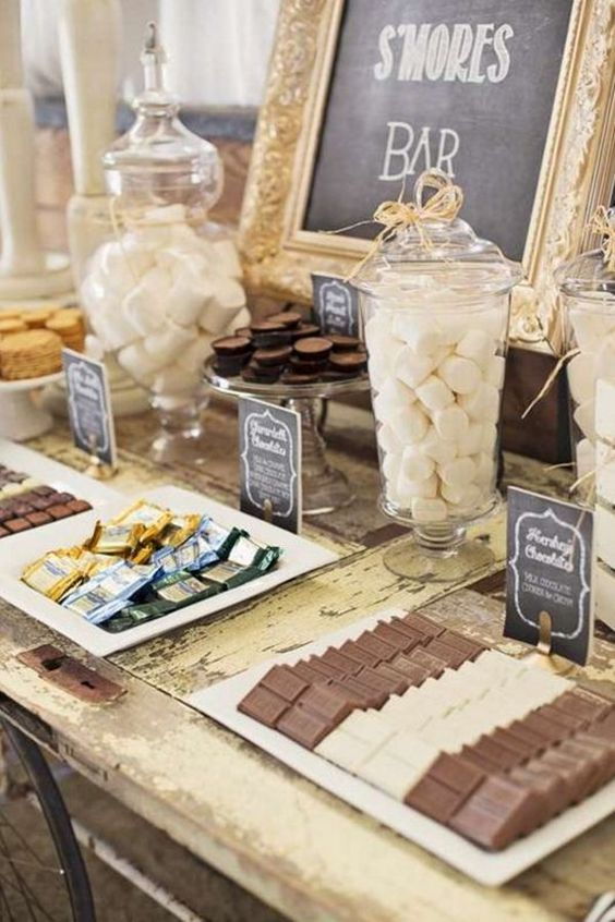 a s'mores bar is another must for a winter wedding, besides it will unite people