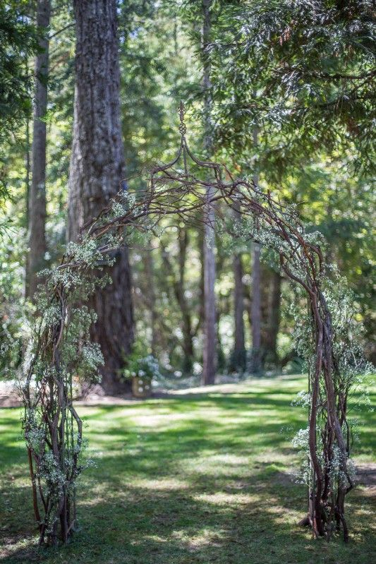 think simple with a wedding arch with brambles of manzanita branches and baby's breath for a natural feel