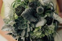 25 a greenery wedding bouquet with succulents and air plants is a trendy option for every bride