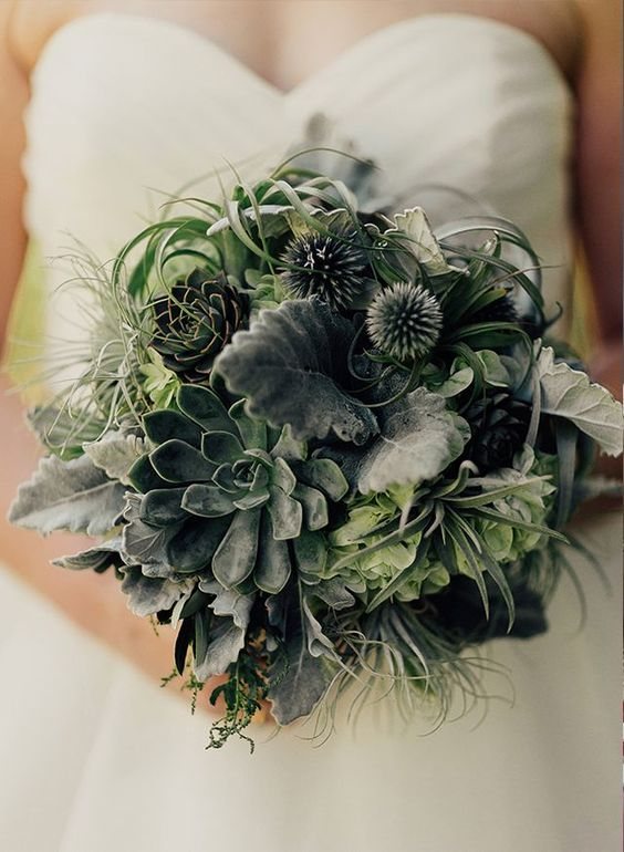 a greenery wedding bouquet with succulents and air plants is a trendy option for every bride