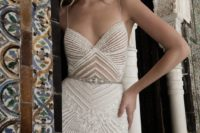 stylish geometric spaghetti strap wedding gown