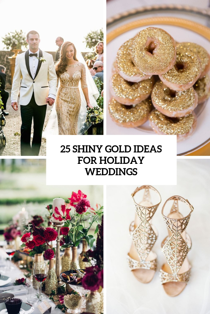 shiny gold ideas for holiday weddings cover