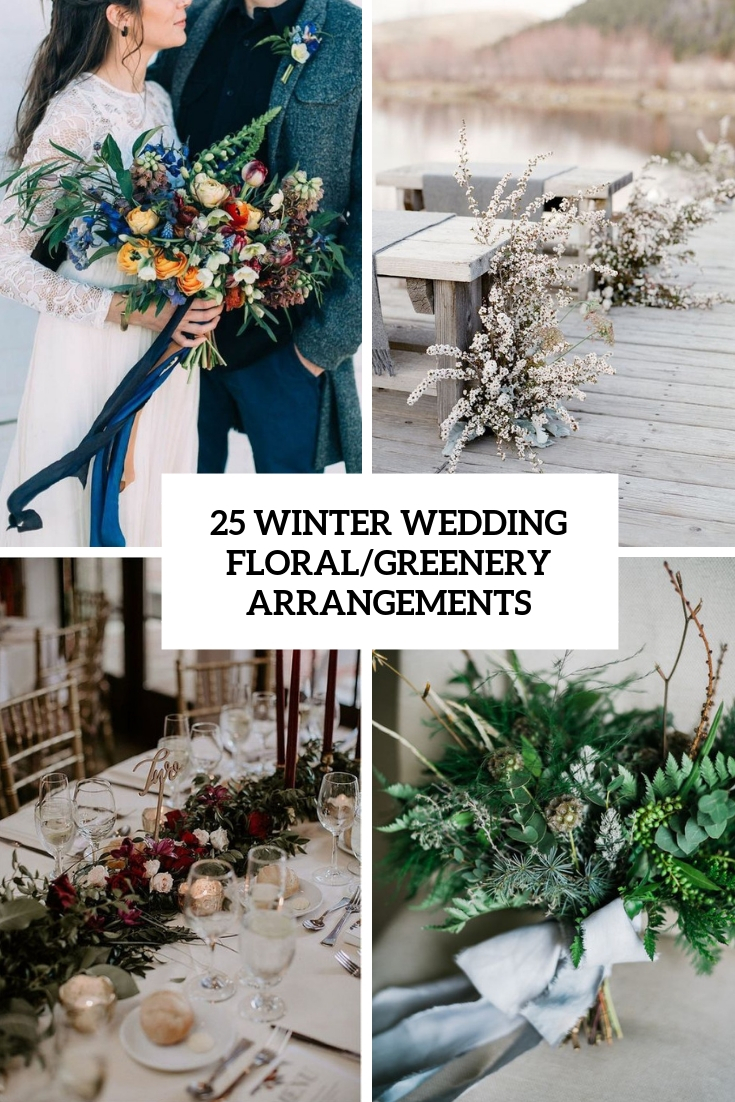 winter wedding floral greenery arrangements cover