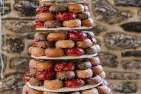 donut tower as festive wedding cake alternative