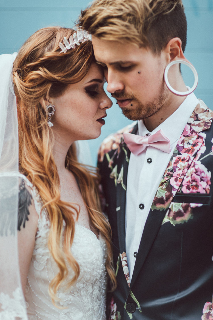 This beautiful couple are two models that decided to tie the knot getting inspired by village fetes, woodlands and all things vegan