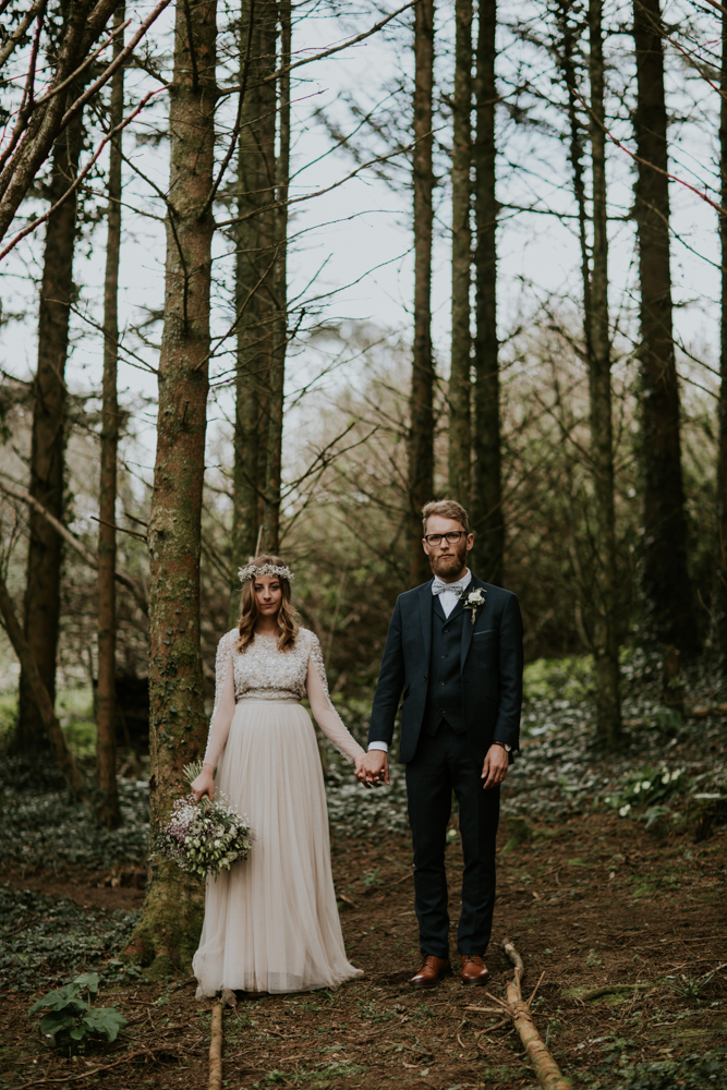 This couple decided on a woodland wedding with a greenhouse reception and had a shiny wedidng day