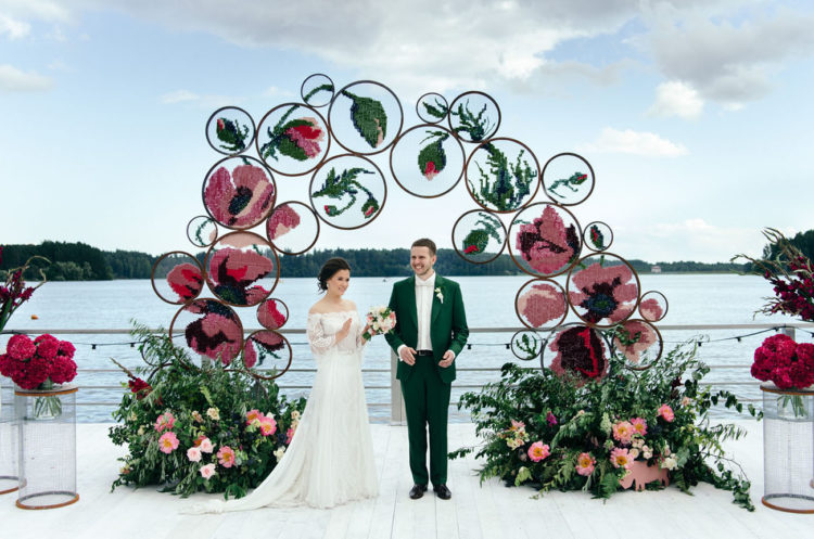 Emerald Green And Rosy Wedding With Embroidery