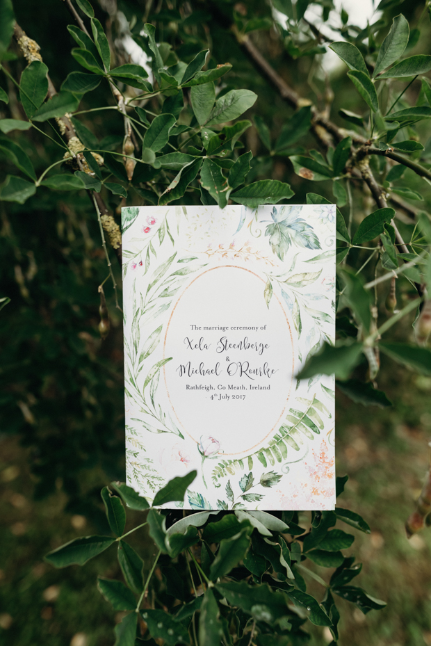 The invitation set the scene for the day with pretty botanicals