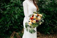 great bride's look with a floral crown