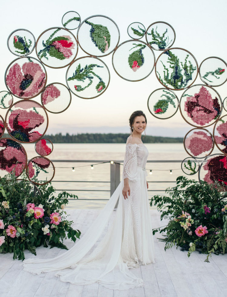 The wedding ceremony space was done with colorful embroidery, which was crafted especially for the wedding