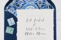 03 navy and white printed wedding stationery with a strogn Mediterranean feel