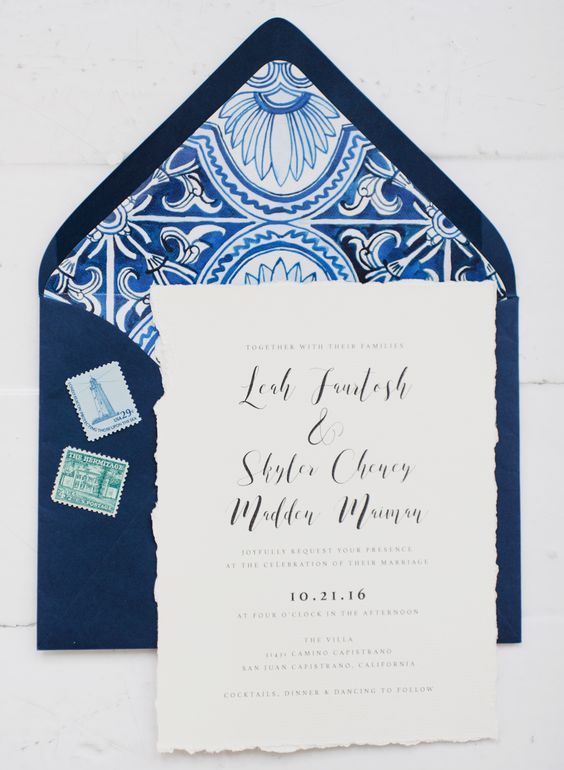 navy and white printed wedding stationery with a strogn Mediterranean feel