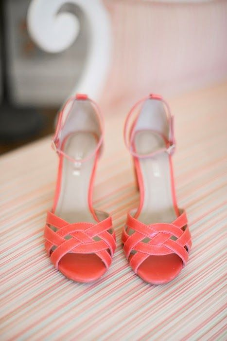 vintage inspired coral woven wedding shoes with ankle straps will give you a right amount of edge