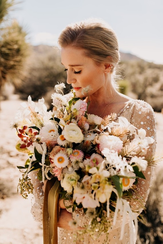 Her bouquet was super textural, with lots of various blooms, greenery and herbs