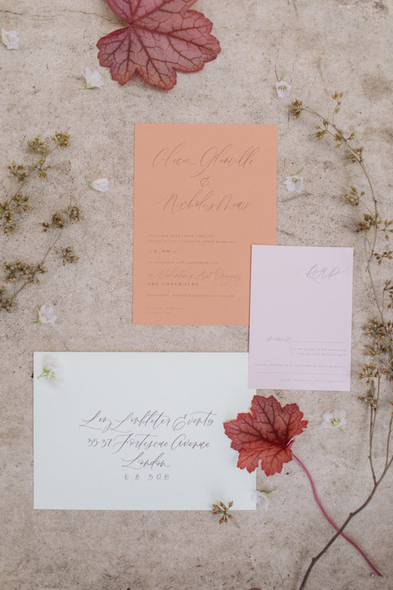 cute pastel wedding stationary
