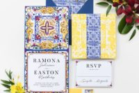04 colorful wedding stationery in yellow, blue and red with traditional azulejo tile patterns