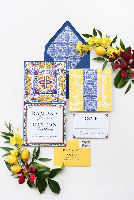 colorful wedding stationery in yellow, blue and red with traditional azulejo tile patterns