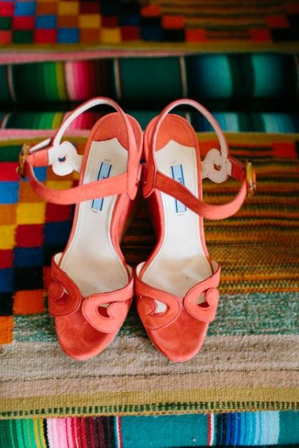 whimsy coral wedding heeled sandals with ankle straps will bring a colorful touch while being fun