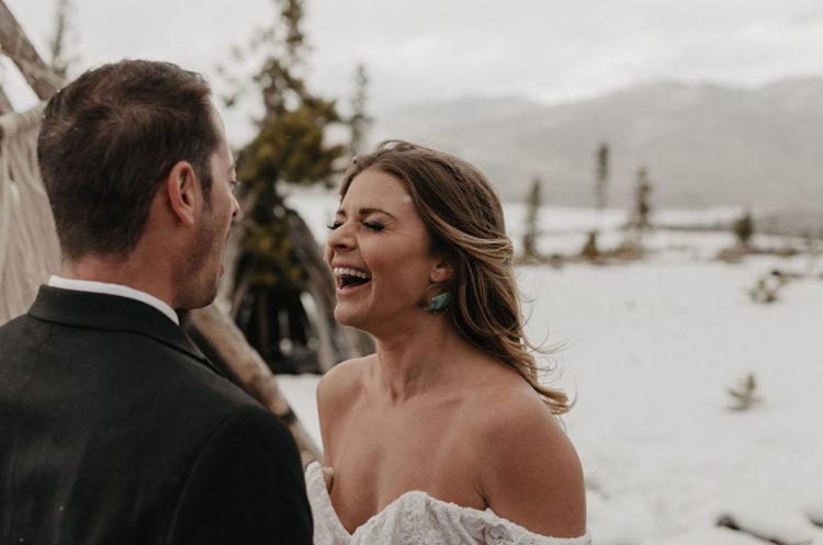 The bride was rocking boho gem statement earrings