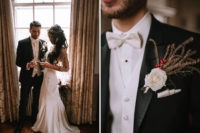 05 The groom was wearing a tux with a white shirt and bow tie plus a textural boutonniere
