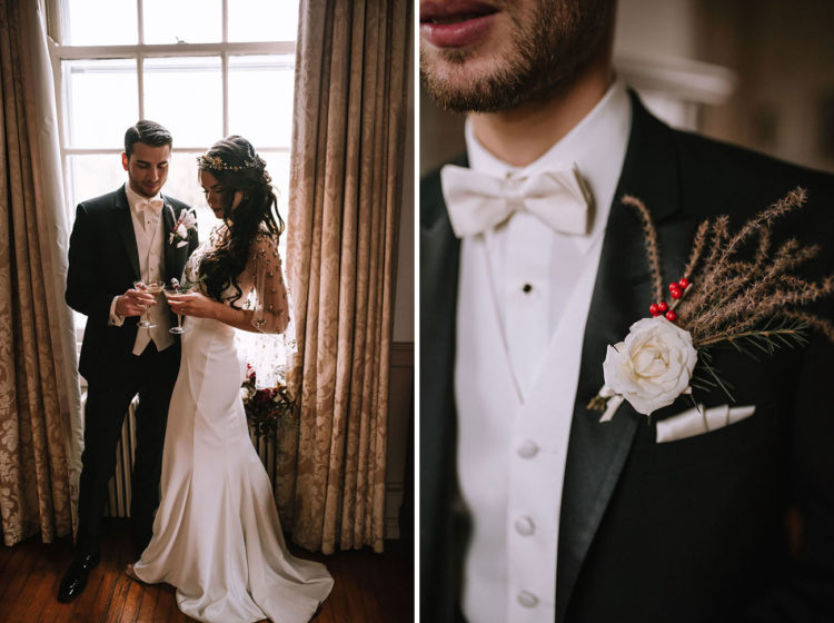 The groom was wearing a tux with a white shirt and bow tie plus a textural boutonniere