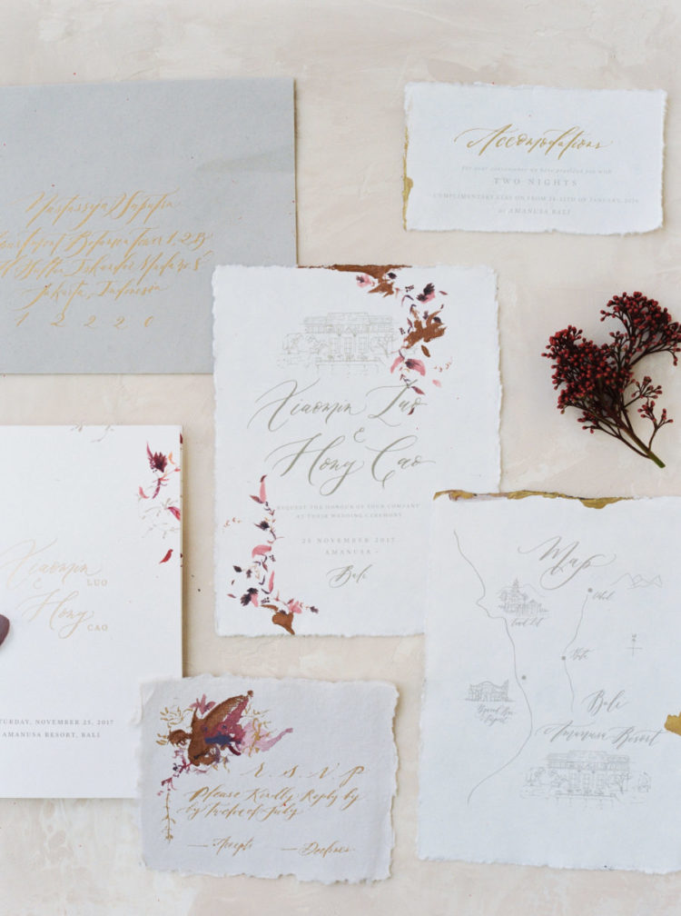 The wedding stationery was done with fall in mind and with gold calligraphy