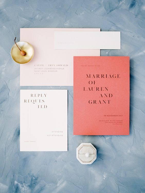 modern wedding stationery in white and coral is a gorgeous and bold idea