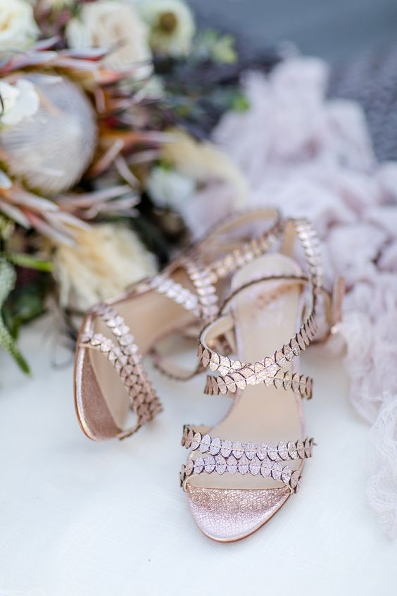 shiny glam copper wedding shoes look ethereal and airy and inspire you to wear them