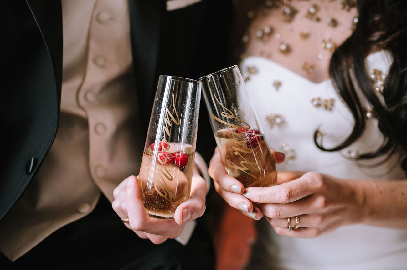 Personalized champagne flutes were created for the shoot