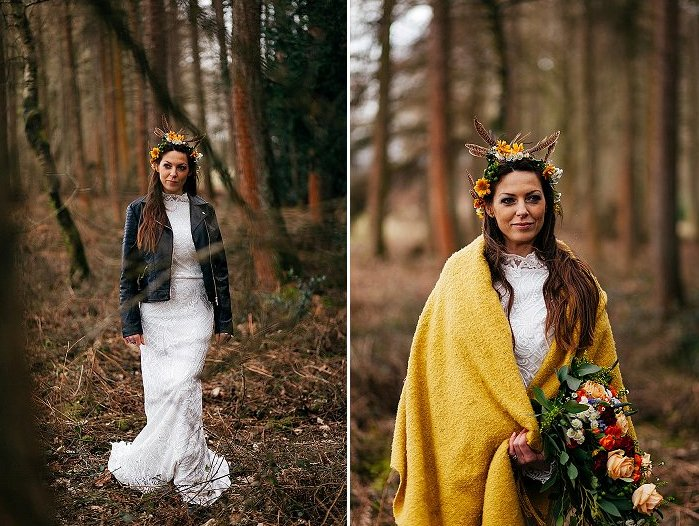The bride covered up with a black leather jacket and a mustard shawl