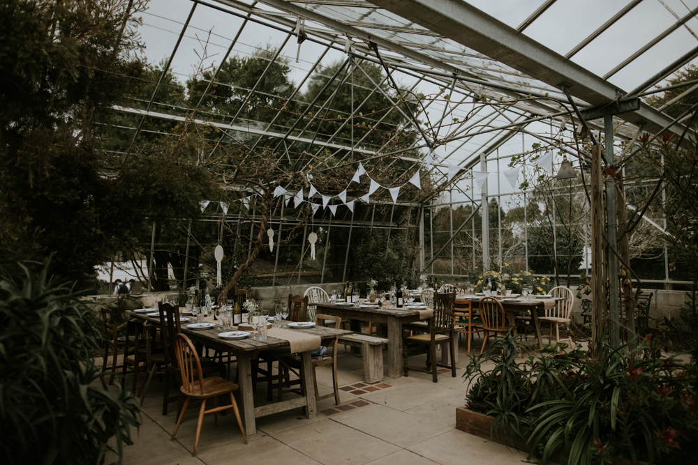 The reception was done in a greenhouse, all the decor was DIYed by the couple, their friends and family