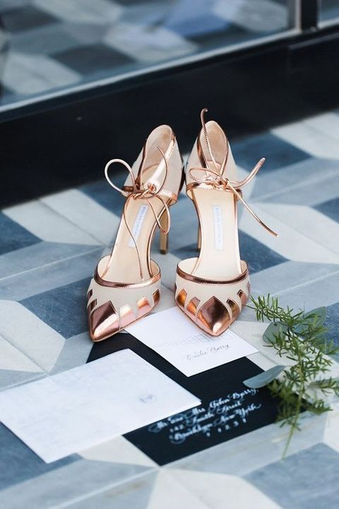 chic geometric copper wedding shoes with laces are a trendy and bold idea to rock