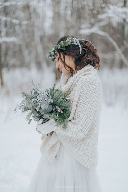 oversized sweaters are extremely popular for winter outfits, why not incorporate one into your bridal look, too