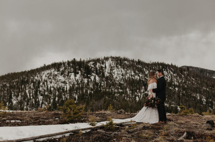 The snowy landscape became a wonderful backdrop for their nuptials and portraits