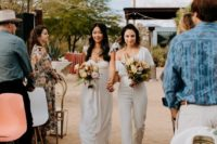 08 The bridesmaids were wearing whites, mismatching dresses and jumpsuits
